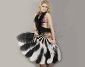 White Black single layer Ostrich Feather Fan Burlesque Dance