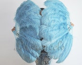 A pair sky Blue single layer Ostrich Feather Fan Burlesque set of 2 fans with gift box
