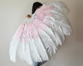 "Burlesque 2-layer White & Pink Ostrich Feather Fan 30""x54"" , Burlesque Dance, Burlesque costume"