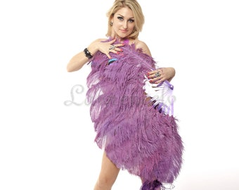 "Amethyst single layer Ostrich Feather Fan Burlesque Dance 25""x45"""