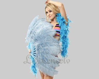 "Baby Blue single layer Ostrich Feather Fan Burlesque Dance 25""x45"""