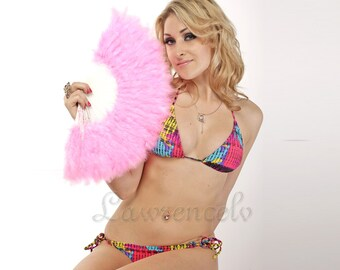 Elegant Pink Marabou feather hand fan costume fun act Burlesque decor dancing
