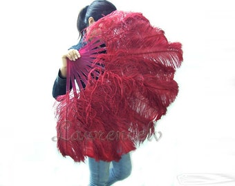 "Burgundy single layer Ostrich Feather Fan Burlesque Dance costume 25""x45"""