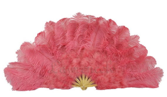 """27""""x 53"""" Lightcoral Marabou & Ostrich Feathers Hand Fan With Bamboo Staves Burlesque Dance"""