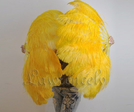 A pair Golden single layer Ostrich Feather Fan Burlesque set of 2 fans with gift box