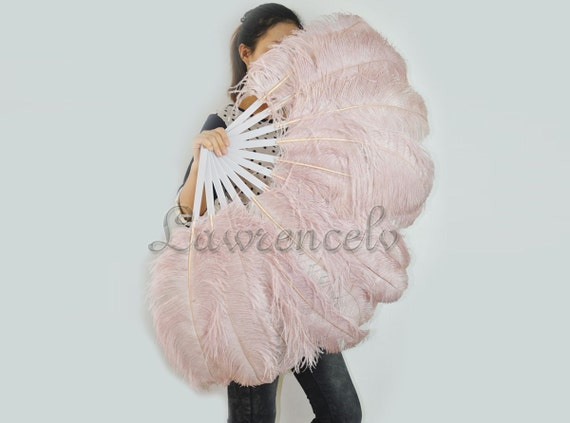"Beige Wood single layer Ostrich Feather Fan Burlesque Dance costume 25""x45"""
