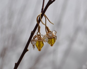 Yellow Citrine Crystal Gold Wrapped Earrings with Swarovski Crystals