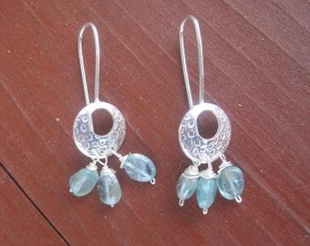 Ocean Blue Apatite Hammered Sterling Silver Earrings