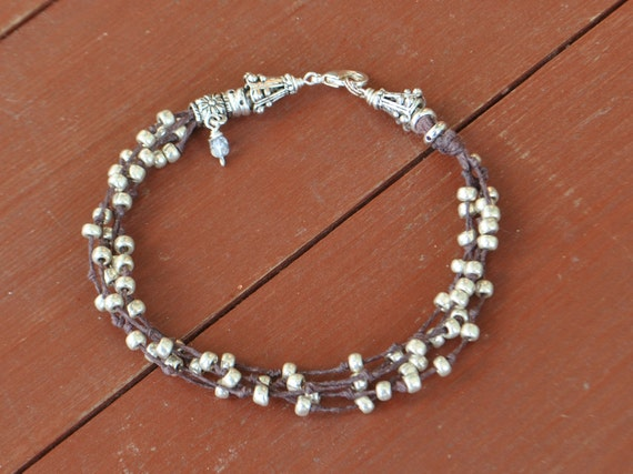 Anklet in Knotted Brown Linen   Multi Strand Silver Beaded
