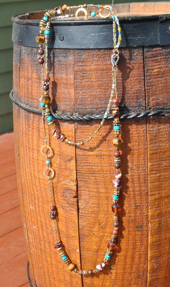 Earthly turquoise, jasper, tiger's eye, malachite, repurposed gold chain long or doubled necklace