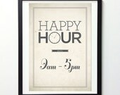 Retro-style typography poster - Happy Hour type poster - distressed white wall decor A3