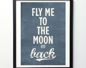 Art Print, Giclee Print, Fly Me To The Moon And Back, Couple Gift, Printed on Archival Paper, Vintage Classic Blue, Digital Print