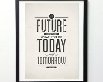 Inspirational Quote Poster, Your Future Is Created By Today, Typography Wall Art, Quote Prints, Inspirational Print, Motivational Wall Art