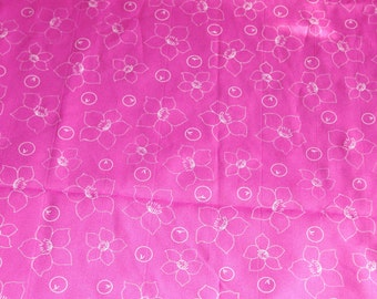 Silky Pink with White Flower Outlines - BTY - DESTASH