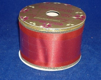 REDUCED PRICE - Ruby Red Wire Edged with Gold Fabric Wide Ribbon - Destash
