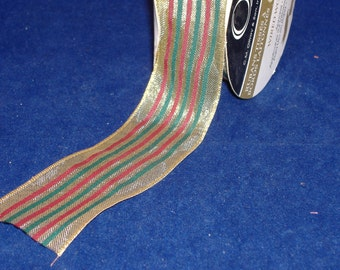 Red, Green, Gold Striped Wire Edged with Gold Mesh Ribbon - BTY - Destash