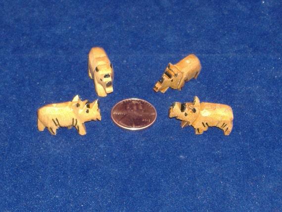 Wood Fetishes, Wood Animal Beads - 4 Rhinoceroses - Ready for Your Wildlife Imagination - DESTASH