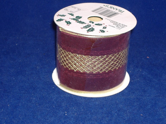 REDUCED PRICE - Burgundy Velvet with Gold Mesh Stripe Wire Edge Ribbon - 3 Yds. - Destash