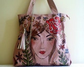 Pink faux leather tote ,hand painted shopper bag, KYBELE