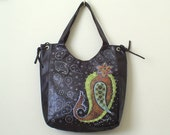 PAISLEY Hand painted brown tote bag for women