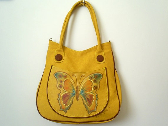 Yellow faux leather shoulder bag, hand painted everyday purse, BUTTERFLY