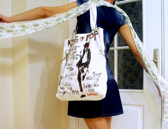 MICHAEL JACKSON hand painted white purse, shoulder bag