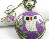 purple enamel based white owl pocket watch necklace locket with a hollow branch and crystal
