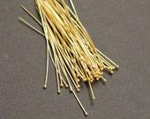 Vermeil Headpins, Ball End Gold Headpins 22guage 40mm---10 pieces