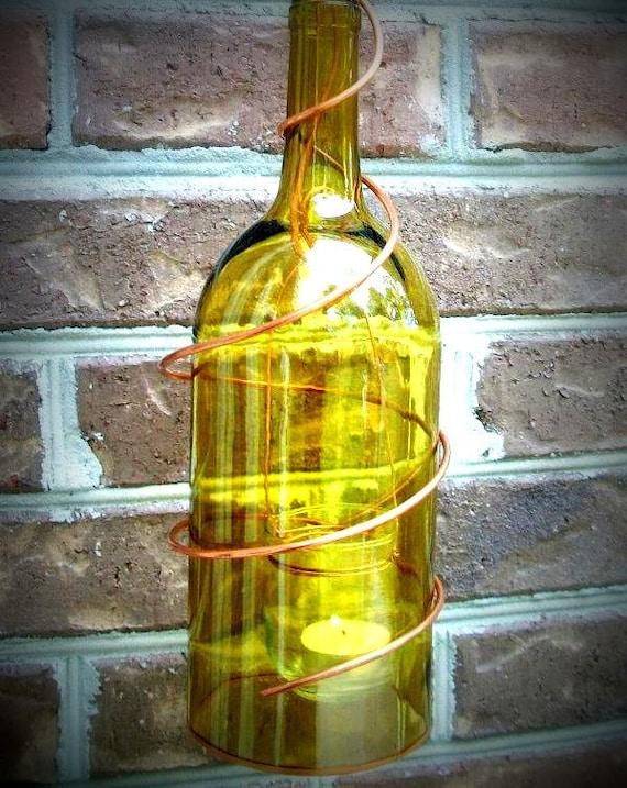 Wine Bottle Patio Lantern w/ Copper Details