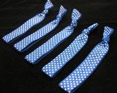 5 blue & white polka dot calibandz - shimmer hair ties, twist emi bella foe, elastic
