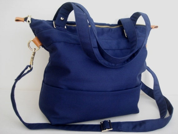Tote cotton canvas shoulder  bag in navy blue - laptop canvas bag - messenger bag - laptop tote bag - LARYS