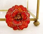 vintage 1960s enamel flower brooch. ABSTRACT ART PAINTING.