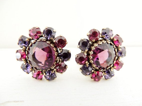 vintage weiss clip earrings. THE FUSCHIA FLOWER.
