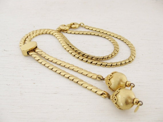1960s gold lariat rope chain necklace. LASSO.