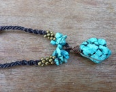 Thai Healing Turquoise Macrame Necklace with Brass Accents