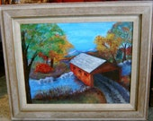 """Framed original acrylic painting titled, """"Covered Bridge in Autumn""""."""