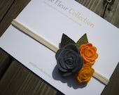 Felt Roses Headband  - Baby to Adult Sizes -Dark Grey, Antique Yellow, Peach Felt with Light and Dark Green Burlap Leaves