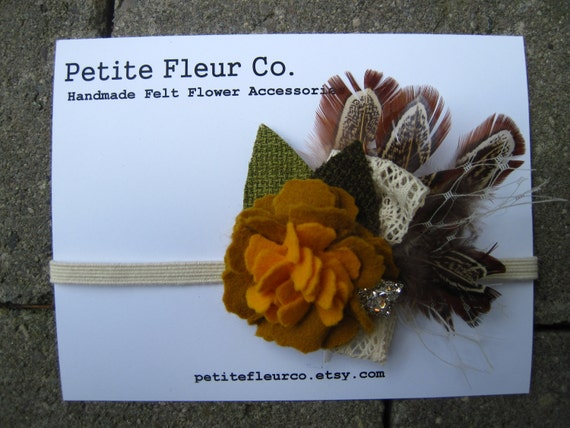 Felt Flower Headband - Antique Carnation with Burlap Leaves, Feathers, Cream English Netting and Crocheted Lace