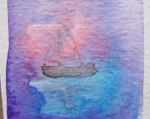 ACEO art card original watercolor dreamy seascape painting nautical art sailboat on the sea free shipping