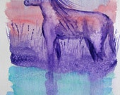 original horse watercolor painting dreamy landscape in pink, blue and purple 9 x 12