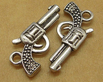Gun Charms Pistol Charms Antiqued Silver Charms Gun Pendants Western Charms Six Shooter SAMPLE 2 pieces