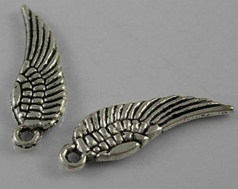 Angel Wing Charms Antiqued Silver Wholesale Charms 17mm Double Sided 100 pieces