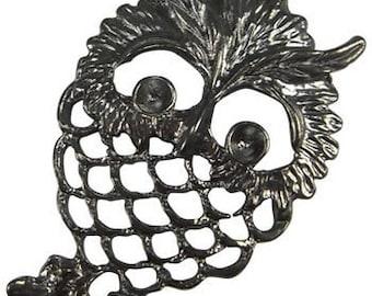 Owl Pendants-58mm-Gunmetal-Owls-10pcs