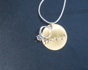 Personalized Engagement / Wedding Date Charm Necklace