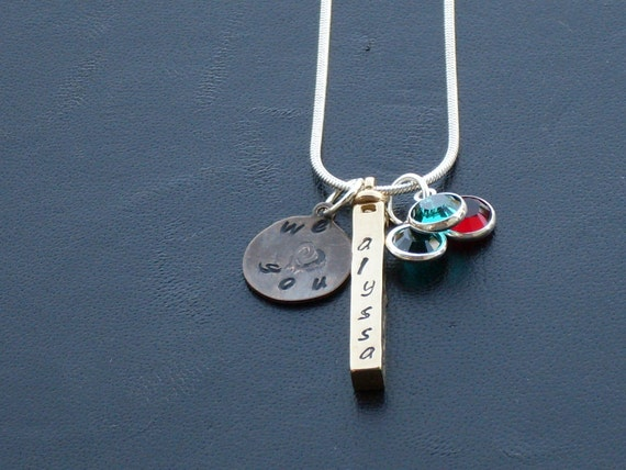 Personalized Swivel Bar Necklace - Custom Solid Brass 4-Sided Spinning Bar Necklace