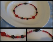 Red flowered bracelet