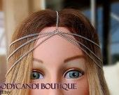 silver 7 strand head chain. headdress, hair chain, gypsy, boho headband