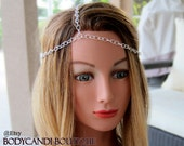 Silver chain 3 strand head piece. headdress, hair chain, hippy, boho, headband