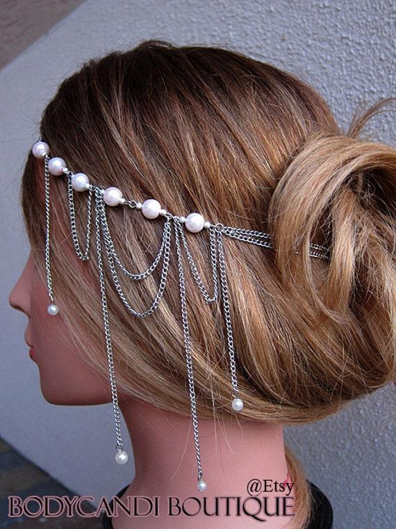Head chain hair piece with pink pearl accent. Wedding, bridal, prom, headdress, hair chain