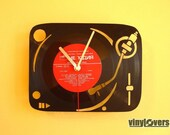 turntable dj handmade wall clock from vinyl record afro unique gift